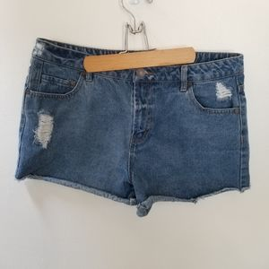 Refuge Distressed Blue Denim Jean Shorts - size 12